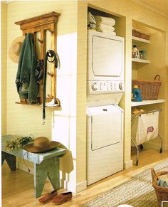 """What an amazing way to make a """"laundry room"""" if you don't have much room!"""