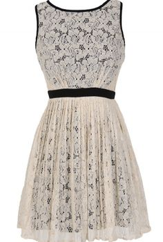 Classy Contrast A-Line Pleated Lace Dress in Ivory  www.lilyboutique.com