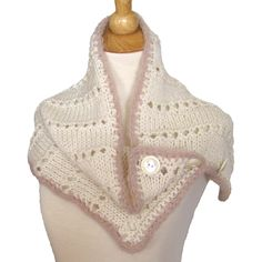 Winter White Chunky Knit Cowl Capelet Hood