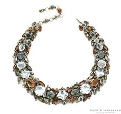 Fabulous 1950's Schreiner necklace with topaz, smoke and clear rhinestones.