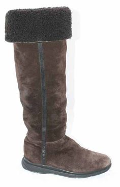 Prada, Brown Leather Shearling, Fall/Winter Rustic Knee Boots! Size: 36 (6.) Our Price, $355.00!!