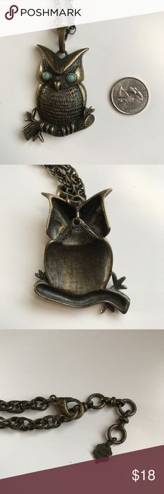 """Lucky Brand Owl Necklace Boho owl bronze necklace. The owl has faux turquoise eyes and is sitting on branch. The head bobbles. Worn no more than three times and then kept in jewelry closet. Necklace is 14"""" long. Lucky Brand Jewelry Necklaces"""