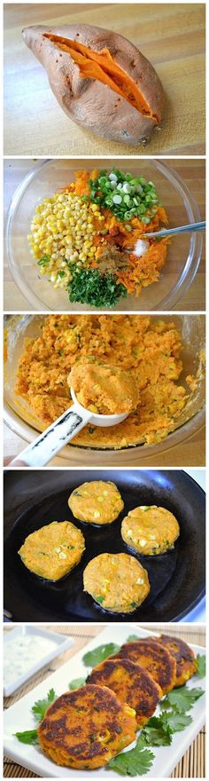 Sweet Potato Corn Cakes with Garlic Dipping Sauce ~ Idea to try: use skins, blend in food processor, vegan eggs or no eggs and bake. These sweet potato corn cakes are so good that I am sure you will love them as much as I do. Veggie Recipes, Vegetarian Recipes, Cooking Recipes, Healthy Recipes, Clean Recipes, Potato Recipes, Fast Recipes, Potato Dishes, Burger Recipes