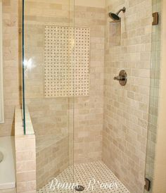 Master Bathroom ....a shower with a small bench! So you can sit and shave your legs:)