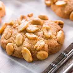 A tasty recipe for homemade peanut butter cookies topped with more peanuts.. Homemade Peanut Butter Cookies Recipe from Grandmothers Kitchen.
