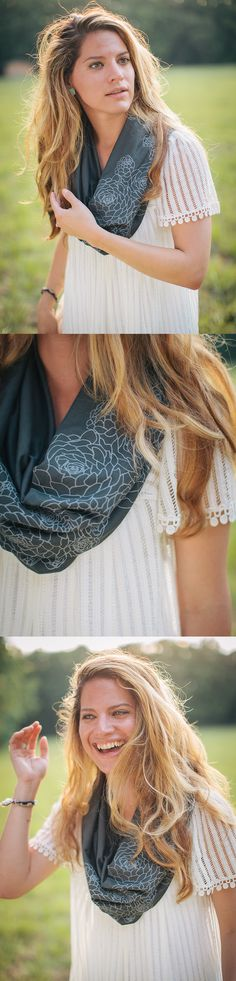 Organic cotton + bamboo infinity scarf with screenprinted succulents. Generously sized...would be perfect for a windy day, especially for a nursing mom!  Printed by hand in a backyard workshop, too.