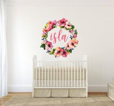 For a truly custom nursery, this floral name wreath will give you the look you've been dreaming of. Details + Dimensions: - w x h - Includes floral wreath and custom name decal - Matte finish Monogram Wall Decals, Name Wall Decals, Vinyl Wall Stickers, Flower Nursery, Flower Wall, Nursery Design, Nursery Decor, Nursery Ideas, Wall Decor