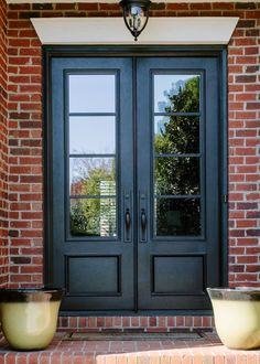 double front entry doors Decorate your doorway with these double front doors with glass from Clark Hall. Designed with traditional charm, these custom front doors welcome you ho Double Front Entry Doors, Double Doors Exterior, Front Doors With Windows, Front Door Entrance, House Front Door, Glass Front Door, House Doors, Doorway, Glass Doors