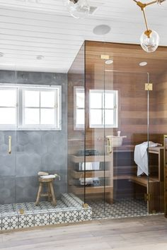 The bathroom sauna is growing trend in bathroom design that instantly creates a spa-like retreat in your home. Take a look at how these three designers incorporated a sauna into their bathroom design. Bad Inspiration, Bathroom Inspiration, Interior Inspiration, Bathroom Trends, Bathroom Interior, Bathroom Ideas, Bathroom Inspo, Bathroom Organization, Small Bathroom