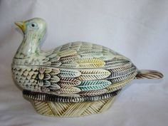 "Vintage Hand Painted Elpa Alcobaca WILD TURKEY BIRD Tureen, Portugal, purchased in the late 1970smeasuring about 13"" long and about 7-1/2"" tall, #2626"