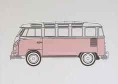 VW Kombi van pink - digital art print - perfect for bedroom art   by SconnieAndJam on Etsy https://www.etsy.com/listing/216022088/vw-kombi-van-pink-digital-art-print