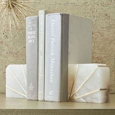 Stone Bookend - Alabaster | west elm/I like the Art Deco feel of the brass and stone.