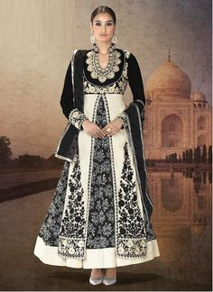 Perfect Black And White Velvet Lace Work Anarkali Suit