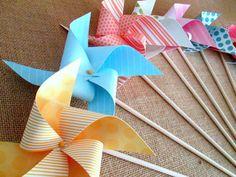 Paper Pinwheels Polka Dots and Stripes Birthday Favors 10 Twirling Pinwheels Birthday Party Favors Baby Shower Favors Bat Mitzvah Favors