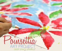 Poinsettia print project for kids. Great art project to do the week before winter break!