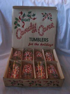 Eight VTG Retro CANDY CANE Tumbler Drinking Glasses Original Box