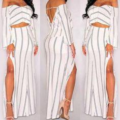 2PCs Irregular Long Sleeve Off Shoulder Backless Crop Top Side Split Skirt Stripe Bodycon Dress