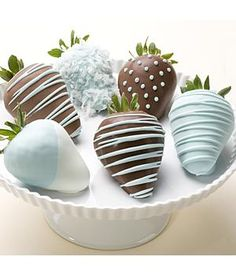 Chocolate Strawberries in baby blue--perfect for baby showers, birthdays or christenings.