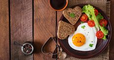 Breakfast on Valentine's Day - fried eggs and bread in the shape of a heart and fresh vegetables. Fresh Vegetables, Avocado Toast, Valentines Day, Breakfast, Blog, Fried Eggs, Abstract, Pattern, Design
