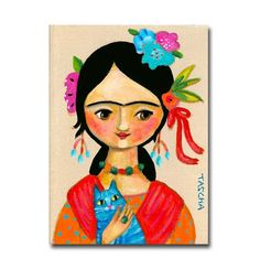ORIGINAL painting FRIDA Kahlo with Blue CAT folk art acrylic painting on canvas by Tascha