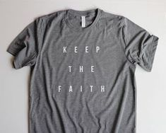 Christian T Shirts for Women, Christian T Shirts for Men, Christian Shirts, Bible Verse Shirts for Women, Christian T Shirt Designs, Keep The Faith Unisex T Shirts, Mom Birthday Gifts for Sister, Brother Birthday Gifts for Dad  This triblend t shirt is so super soft, lightweight and comfortable, youll want to wear it every day! The unisex fit is perfect for a cute half front tuck into your favorite jeans. Give the sleeves a flirty little roll and youre ready to go! (Unless youre a guy. If…