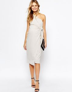 Image 4 of ASOS Maternity Drape Knot Front One Shoulder Midi Pencil Dress