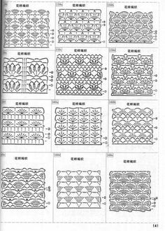 crochet lace ground stitches with shells, various patterns ~~ Haakpatroon