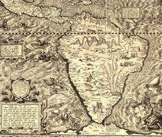 An old map of South America, Diego Gutiérrez, 1562