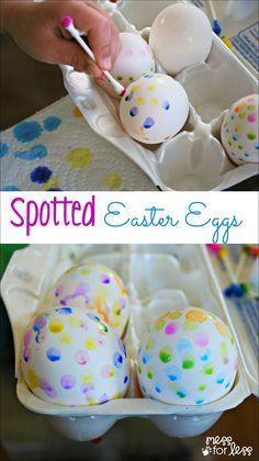 Spotted Easter Eggs - what a fun way to decorate eggs with kids!