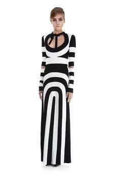 Marc Jacobs foraar/sommer 2013 - langaermet stribet maxikjole i sorte og hvide striber