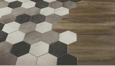 this hex tile to wood flooring is all I need in the world