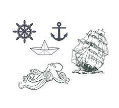 a'hoy matey- nautical tattoo pack- 5 temporary tattoos. $15.00, via Etsy.