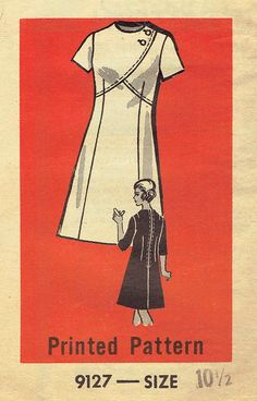 70s A-Line Dress Pattern Mail Order 9127. Half Size for
