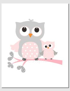 Owl Nursery Art Pink Gray Owls Initial Monogram Baby by vtdesigns