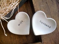 ring dish, wedding ring holder, Husband and Wife,  engagement, anniversary, heart bowl, Black and White, Gift Boxed,  Ready to ship. $20.00, via Etsy.