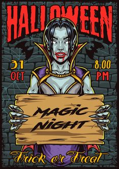 Colorful Halloween poster with a vampire girl. Download awesome Halloween designs on www.dgimstudio.com. 100% vector with editable text.
