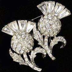 Corocraft Pave and Baguettes Thistles Pin Clips Duette, c. 1948-49