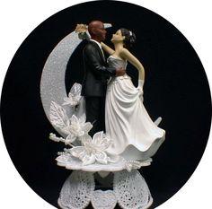 Bald African American Groom White Bride Brown Hair Wedding Cake Topper