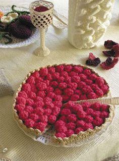 A slice of crochet cherry pie anyone?  Fiber art by Aurelie Mathigot.