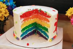Check out this gorgeous rainbow birthday cake! See more party ideas at CatchMyParty.com!