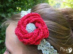 Crochet Headband: Crochet Rose Headband and by ThePinkPingo