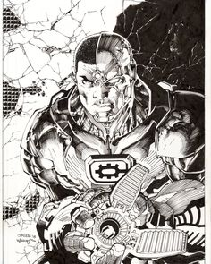 Cyborg by Jim Lee Comic Book Artists, Comic Artist, Comic Books Art, Dc Comics, Jim Lee Art, Superhero Villains, Pop Culture Art, Colouring Pages, Cool Drawings
