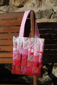 Hand sewn ombre tote bag made using English pieced (paper-piecing) patchwork. Child proportioned, lined and reversible, made as a gift.