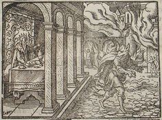 (King Lycaon of Arcadia transformed into a wolf by Zeus. From Book I of Ovid's METAMORPHOSES, as illustrated by Virgil Solis (1514–1562))