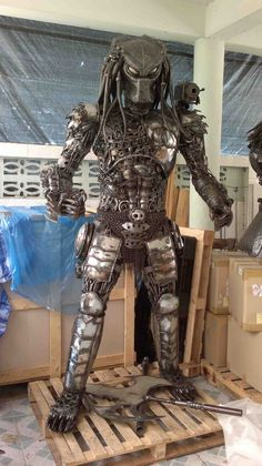 life size predator statue from scrap metal