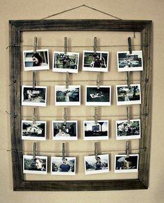 Creative Collage from an old frame, some wire and recycled clothes pins