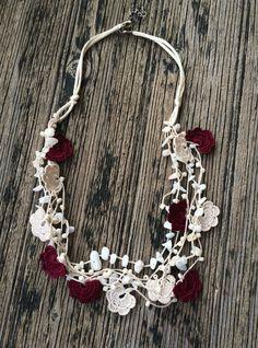 Beige Burgundy Crochet Statement Necklace, Bib Necklace, Beadwork, ReddApple, Handmade Beaded Jewelry