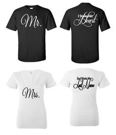 Bride and Groom Shirt - I Stole Her Heart So I Stole His Last Name. Unisex Shirts (Please look at size chart - all sales are final)     S M
