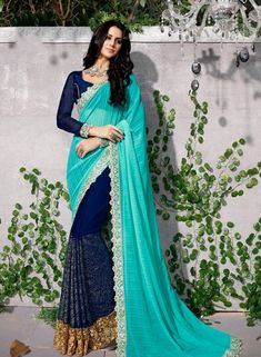 Half n Half saree  https://www.gravity-fashion.com/designer-half-n-half-party-wear-sari-in-sky-blue-and-blue-n17314.html