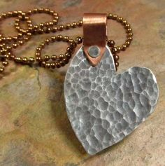 Heart Necklace Mixed Metals with Cold by FiredUpLadiesHammer, $25.00